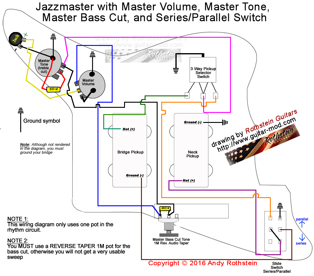 Series Parallel Pickup Wiring Switch Enthusiast Diagrams Re 3 Humbucker Help Rothstein Guitars U2022 Jazzmaster Rh Guitar Mod Com 12 Volt Battery Schematic