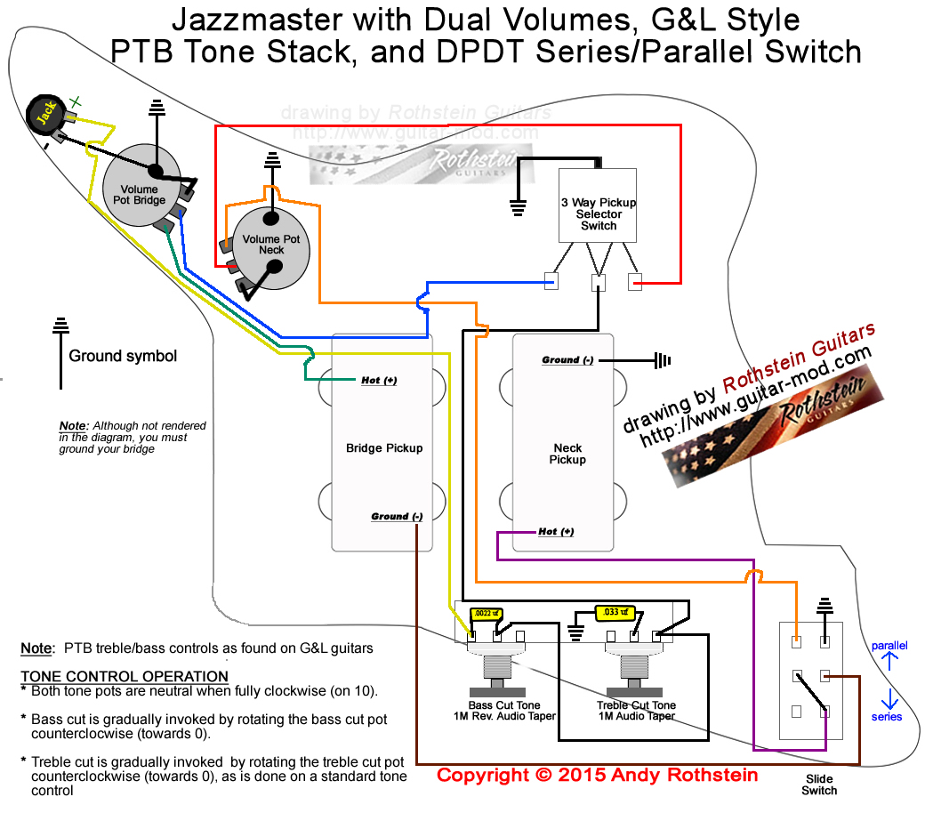 Jazzmaster Wiring Series/Parallel Switching  sc 1 st  Rothstein Guitars : fender jaguar wiring diagram - yogabreezes.com
