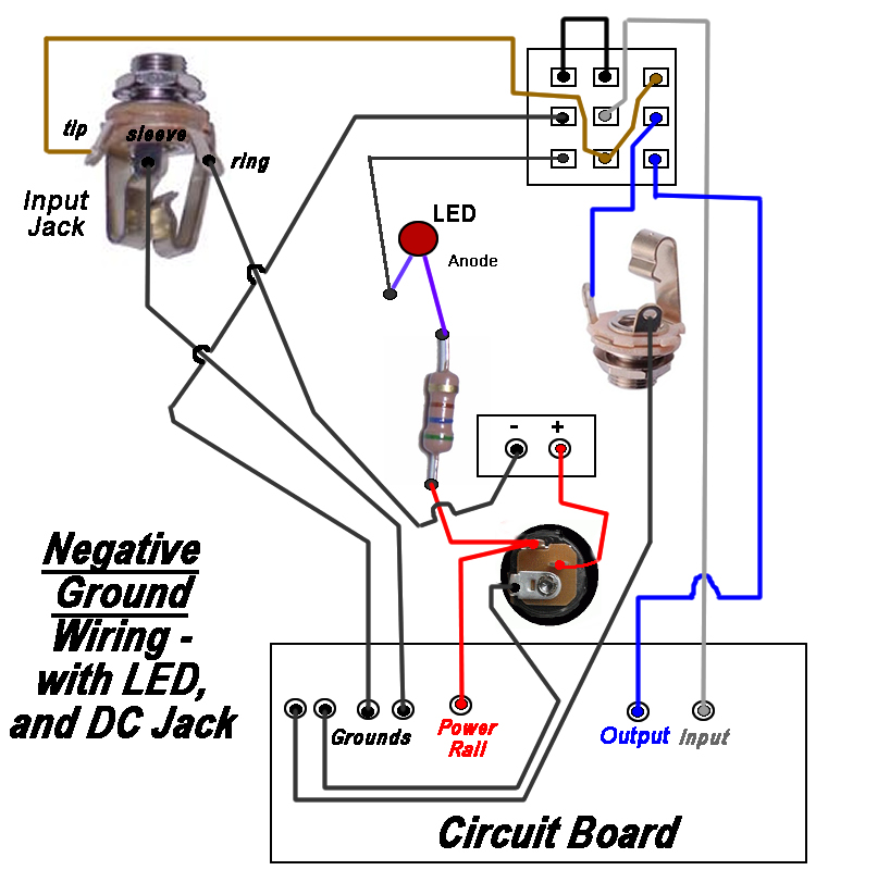 easy to read hookup diagram for standard negative ground pedal with dc jack,  grounded stereo input jack and led